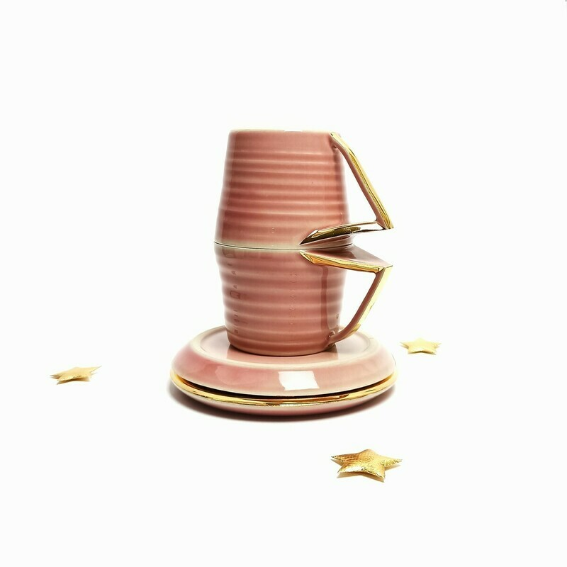 Zestaw 2 Filiżanki Różowe złoto