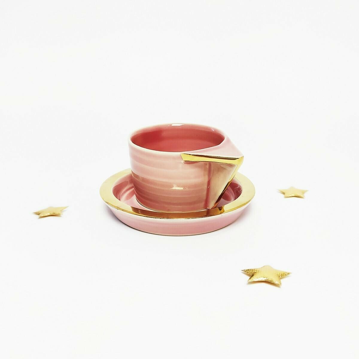 Filiżanka espresso, różowa, złocona