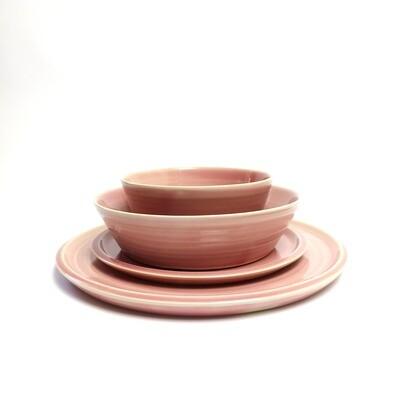 Zestaw obiadowy 4 elementy, 6 osobowy, różowy