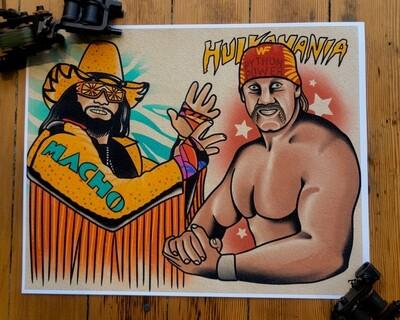 Wrestling Tattoo Flash Print #2