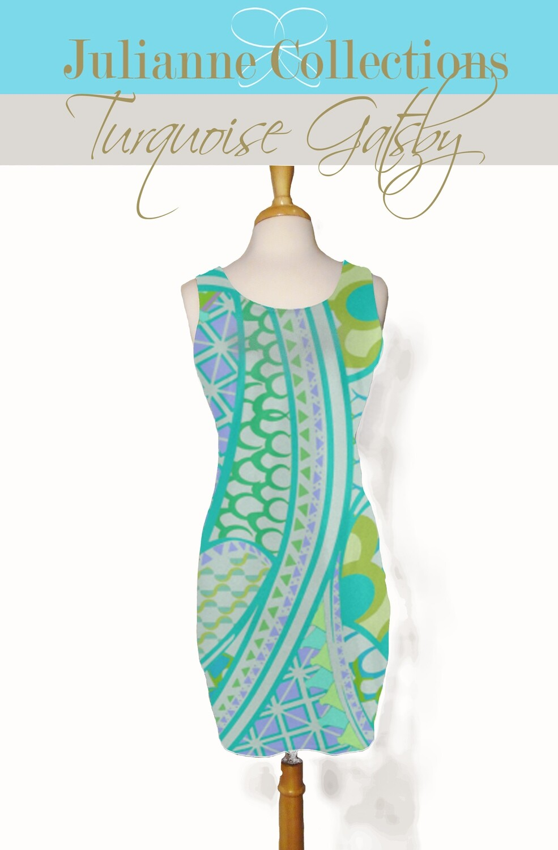 Turquoise Gatsby Tank Dress