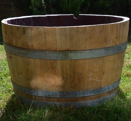 Red Burgundy Barrel Planter
