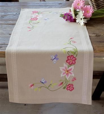 Table Runner Kit Pink Flowers And Butterflies