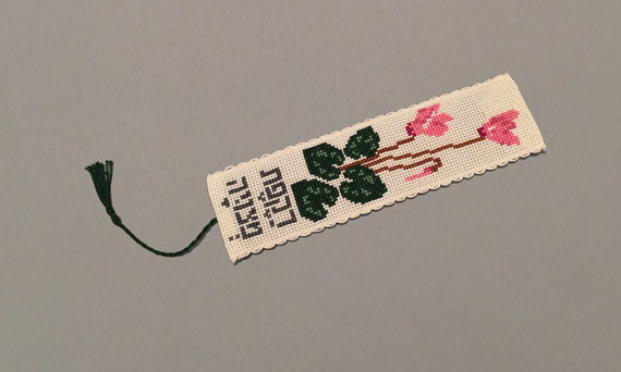 Persian Cyclamen Counted cross stitch bookmark kit