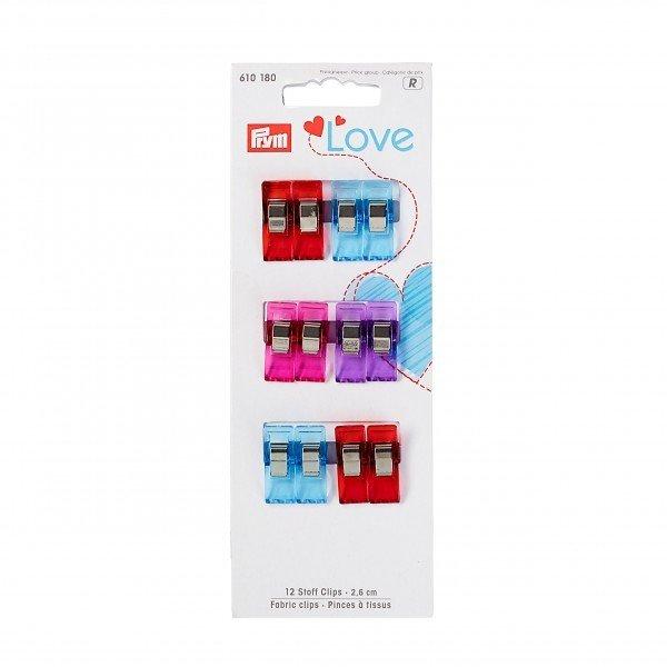 Fabric clips 2.6cm, 12 items, Prym Love