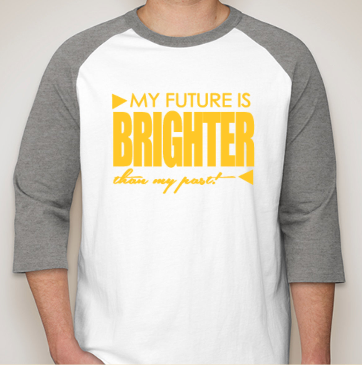 Baseball Tee with Gold Letter Text
