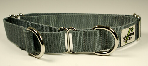 Eco Friendly Bamboo Single Layer Martingale Dog Collar - Pebble Gray