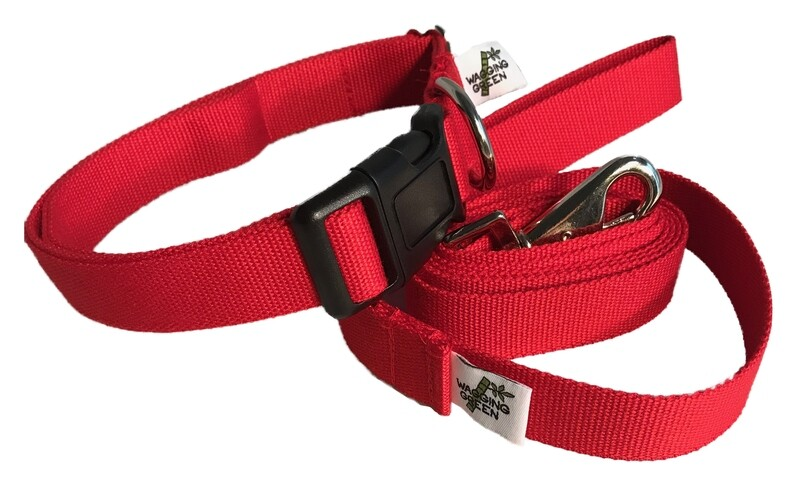 Natural Bamboo Double Layer Buckle Collar/  Leash Set - Berry