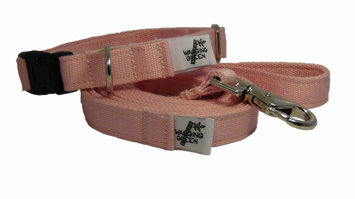 Natural Bamboo Double Layer Buckle Collar/  Leash Set - Seashell