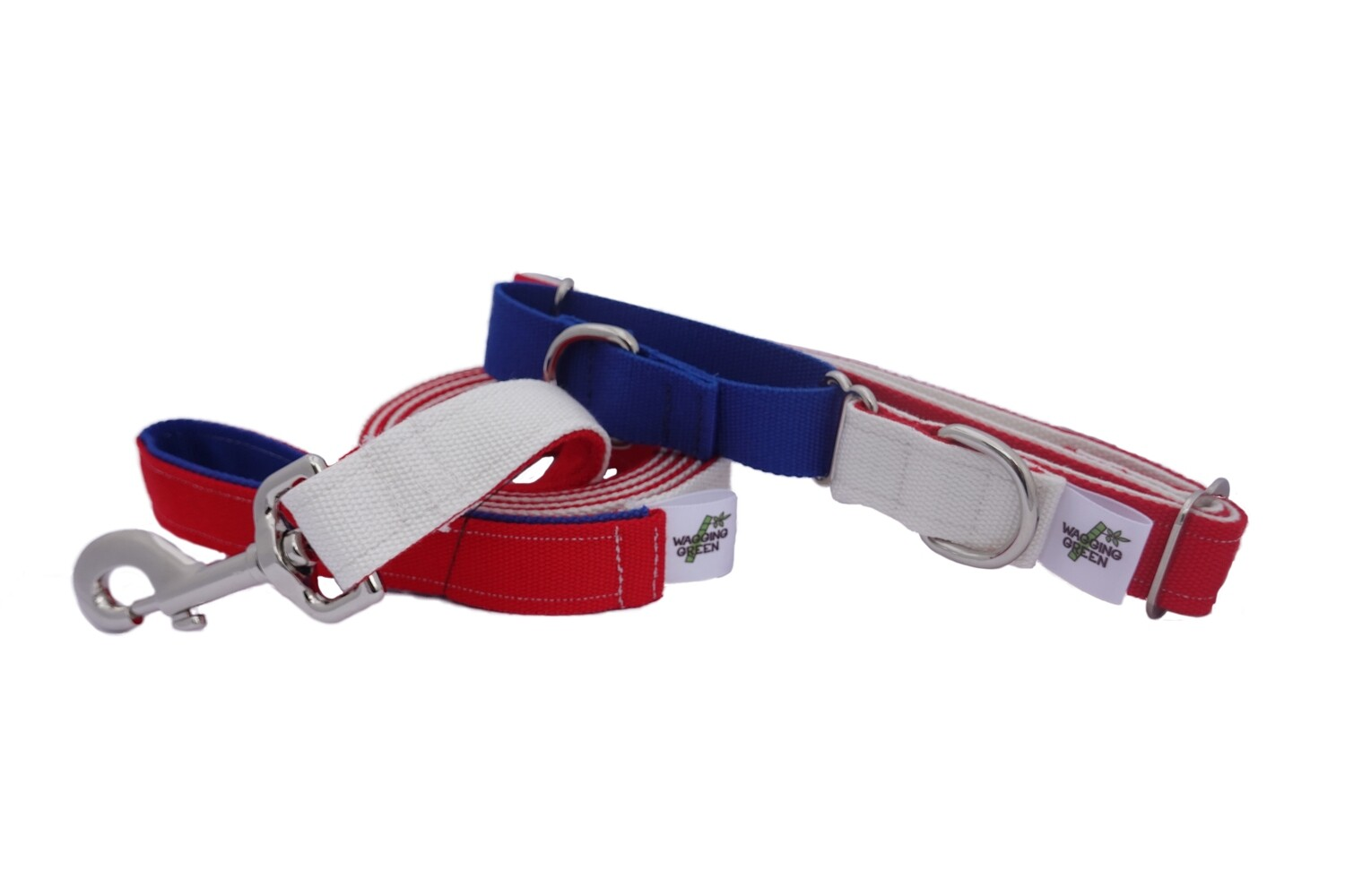 Natural Bamboo Double Layer Martingale Collar /  Leash Set - Red, White, & Blue