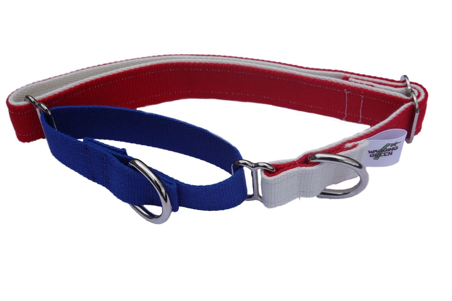 Eco Friendly Bamboo Double Layer Martingale Dog Collar - Red, White, & Blue