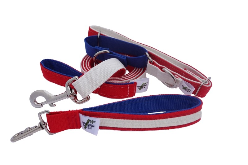 Natural Bamboo Double Layer Martingale Collar /  Leash / Wristlet Set - Red, White, & Blue