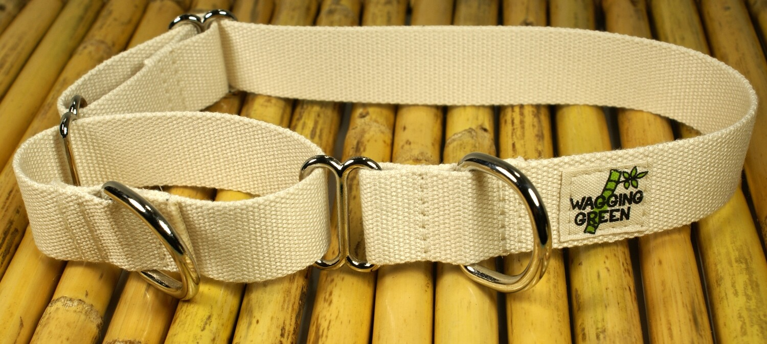 Eco Friendly Bamboo Single Layer Martingale Dog Collar - Natural