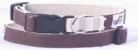 Cotton Double Layer Quick Release Buckle Dog Collar - Brown/Natural (1