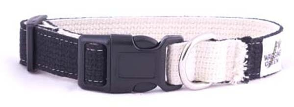 Cotton Double Layer Quick Release Buckle Dog Collar - Black/Natural (1