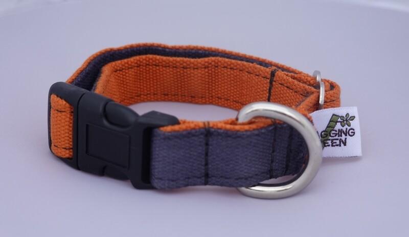 Eco Friendly Bamboo Dog Collar - Orange & Dark Gray (Clearance)