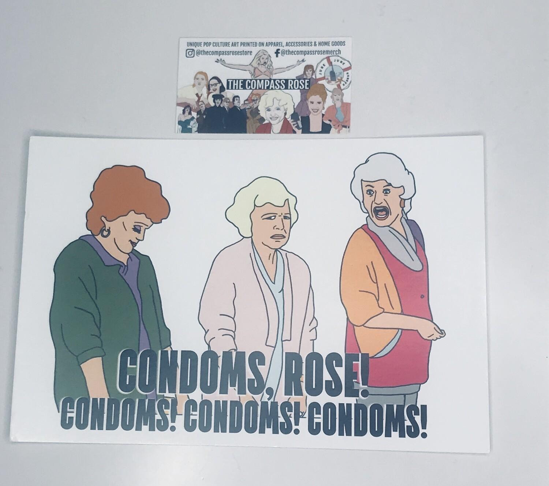 Condoms Rose Card Stock Print