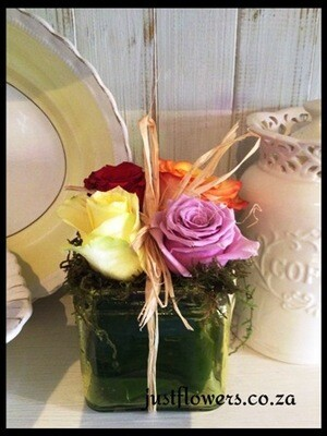 Square vase Roses