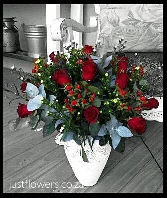 Red or White Roses in Pottery