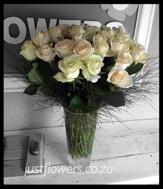 White Roses Glass vase