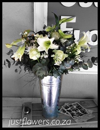 Galvanized White Vase