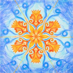 Lysel Mandala Artprint 'Dansend op de golven van het Leven'  (vanaf prijs)