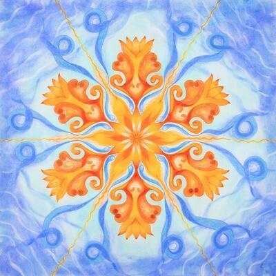 Lysel Mandala 'Dansend op de golven van het Leven' 50x50