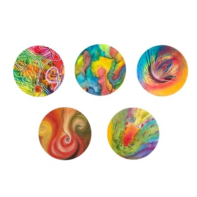 Lysel Magneet Buttons Art Pastelreeks (5 stuks)