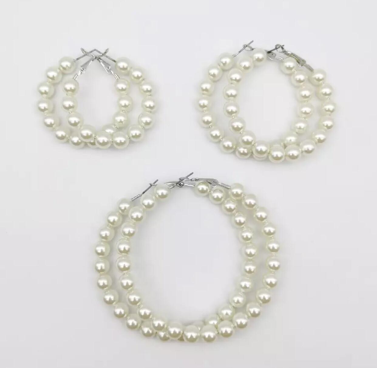 White Pearl Circle Hoops