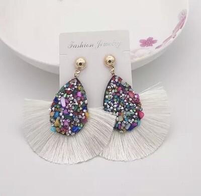 Rainbow Crystal Tassel Earrings