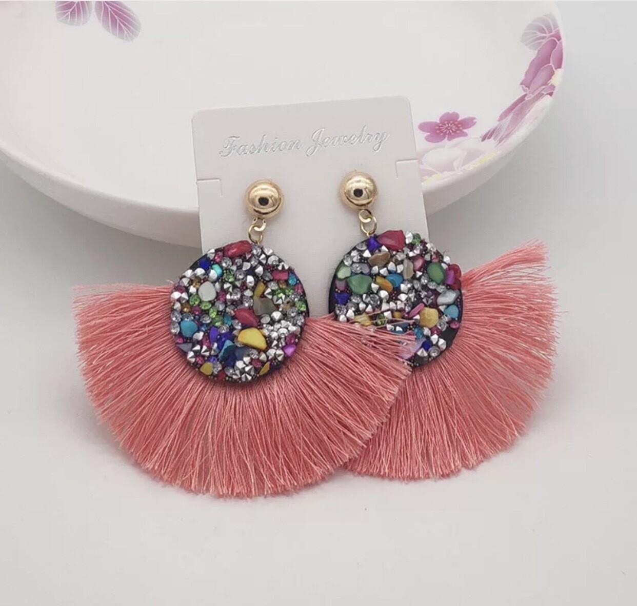 Round Rainbow Crystal Tassel Earrings
