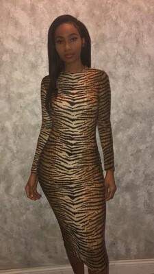 Tiger  Print Midi Dress
