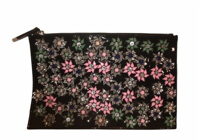 Patent Leather Floral Clutch