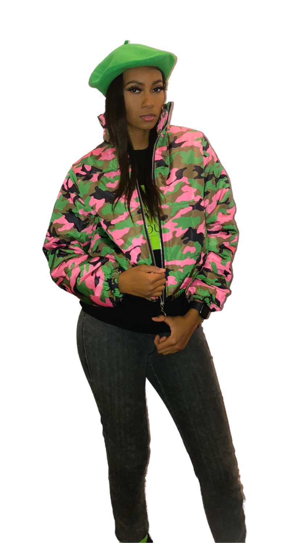 Camo Puffer Crop Jacket