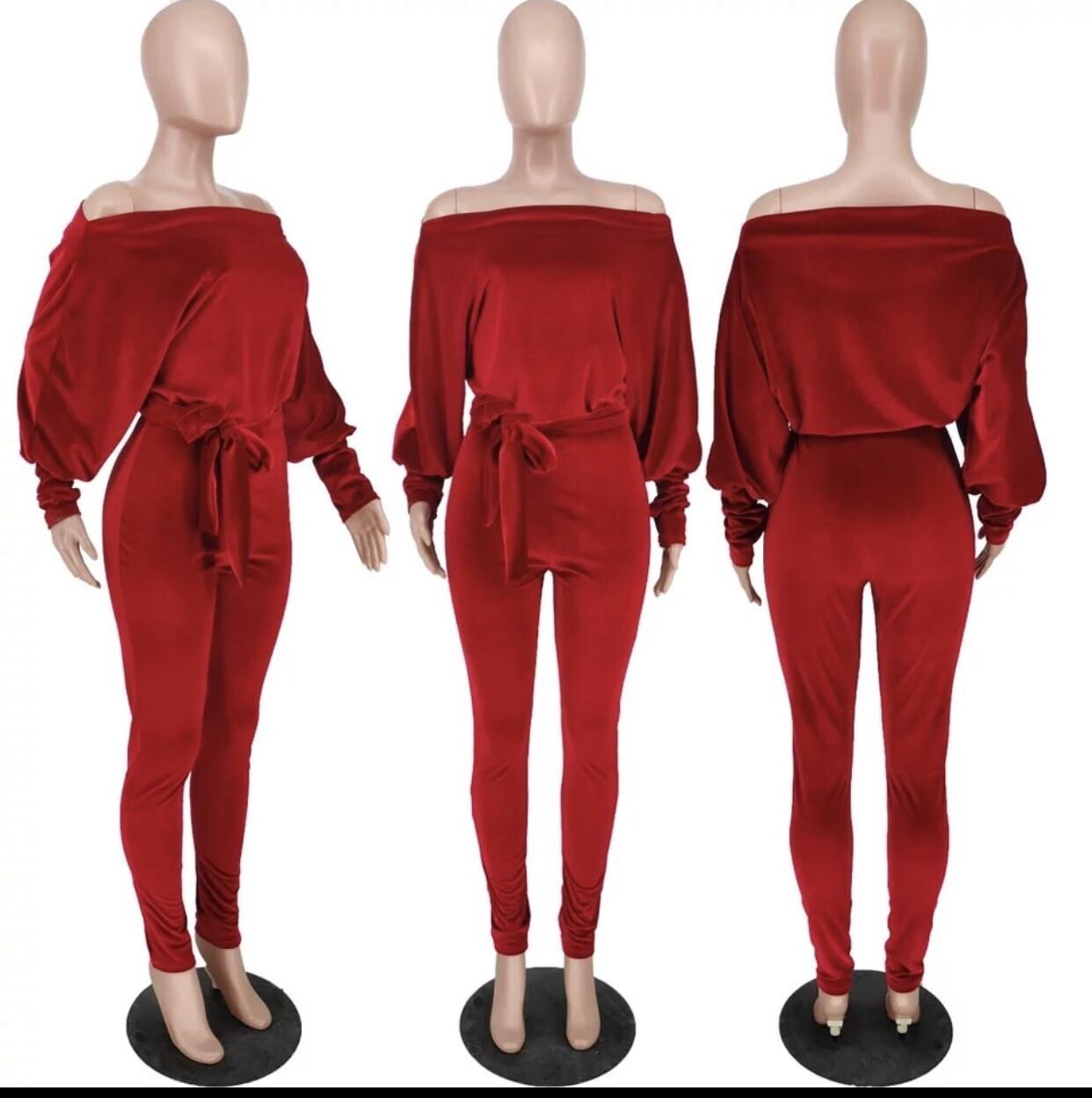 Gia Stretch Velvet Off Shoulder Jumpsuit