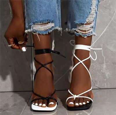 Color Cross Tie Sandals