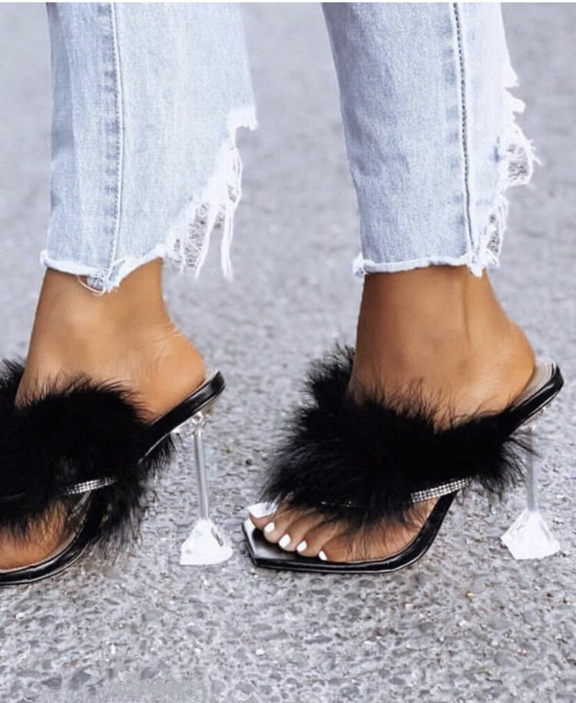 Krissy Rhinestone Fur Slide Heels