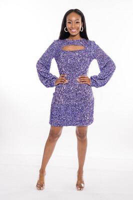 Purple Sequin Party Dress