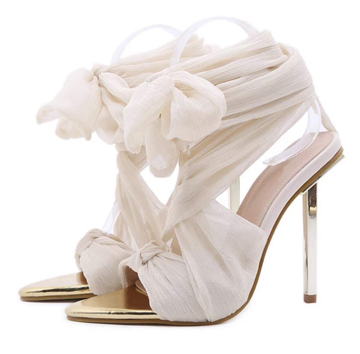 Chloe Chiffon Tie Up Heel