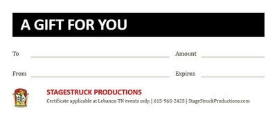 StageStruck Gift Certificate