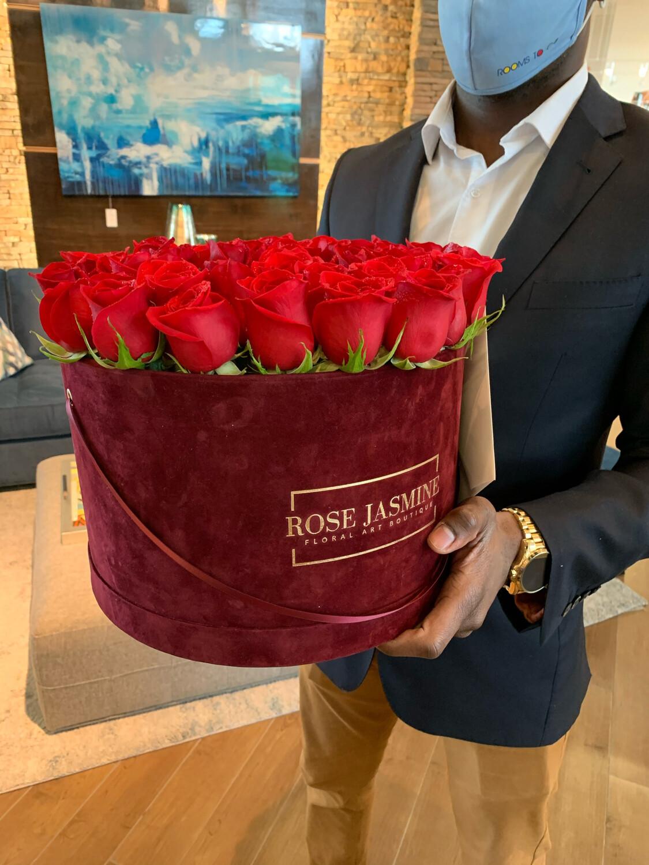 Burgundy Velvet Grande Box & Up To 4 Dozen Roses