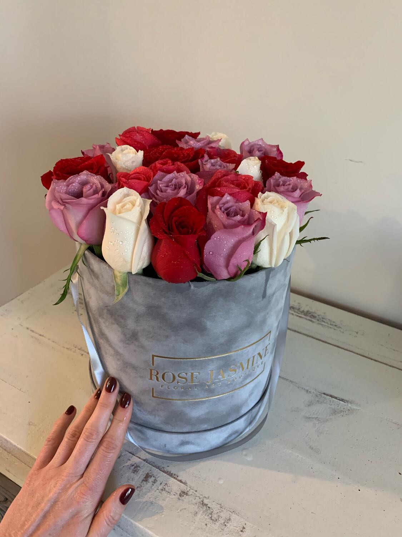 Grey Velvet  Box & 2 Dozen Fresh Roses
