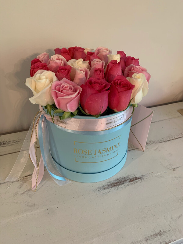 Small Blue Box & 2 Dozen Roses
