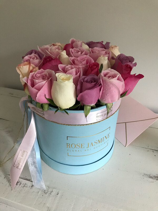Small Blue Box & 2 Dozen Roses