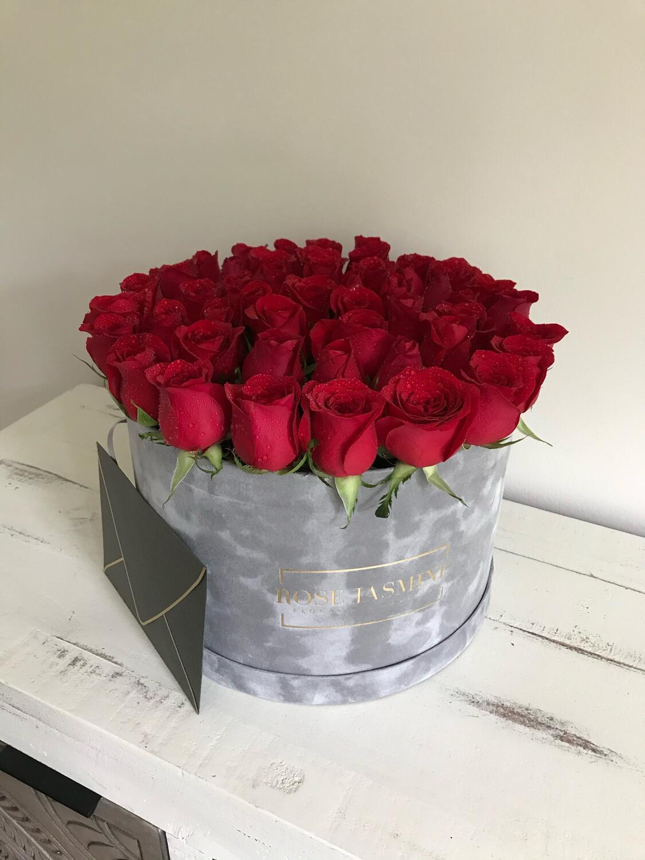 Grey Grande Velvet Box & Up To 4 Dozen Fresh Roses
