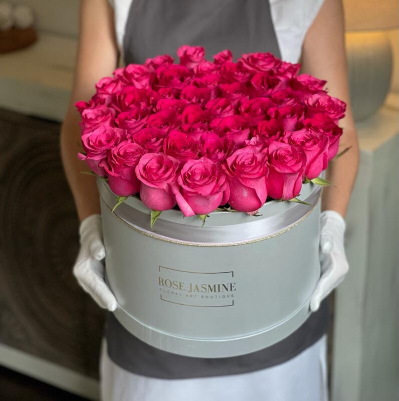 Silver Grande Box & 4 Dozen Fresh Roses (New & Hot Item)