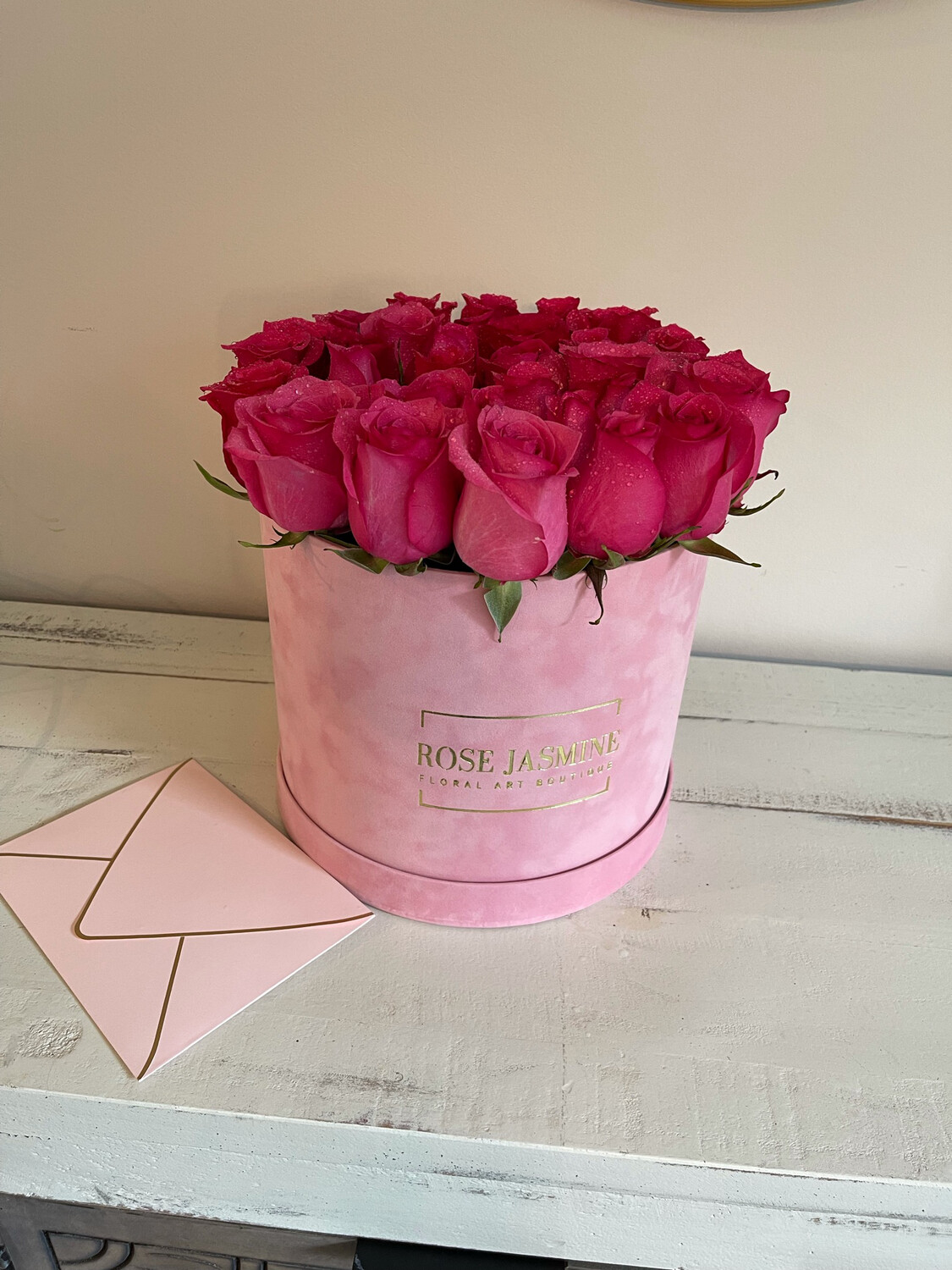Pink Velvet Box & Up To 35 Stems Of Fresh Roses (Our Top Selling Item)