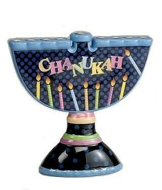 Ceramic Chanukah Menorah - Hand painted