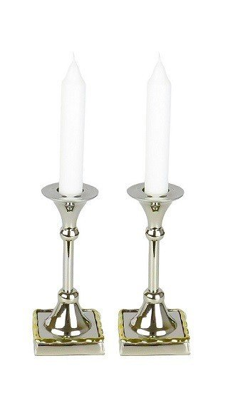 Shabbat Candle Holders with Gold Borders