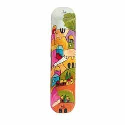 Small Wooden Art Mezuzah Case